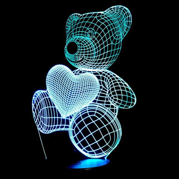 3D светильник Медвежонок и сердечко