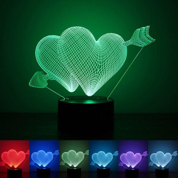 3D светильник Два сердца